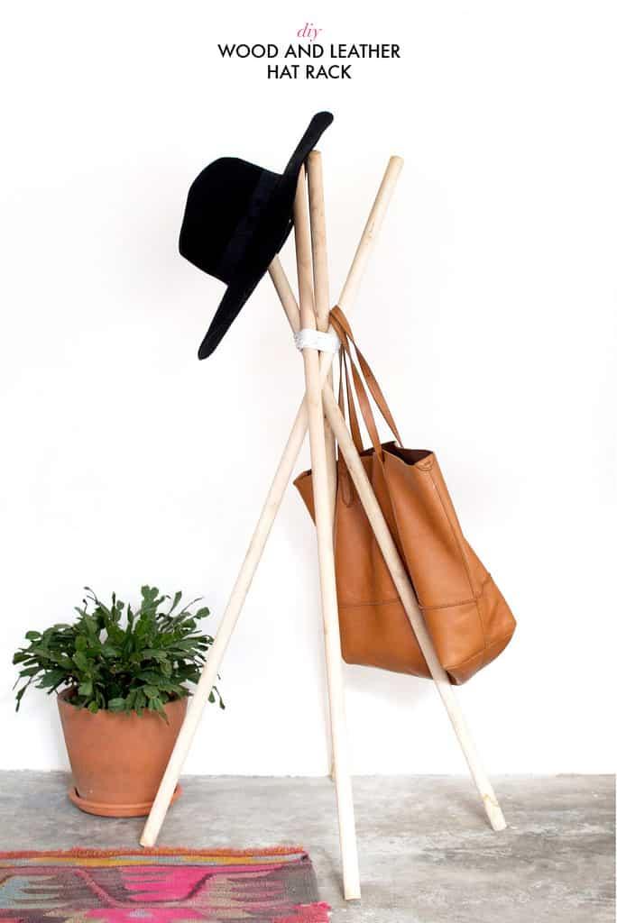 Diy wooden quick hat rack