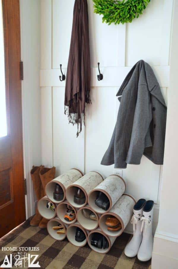 Entryway pvc pipes shoes storage