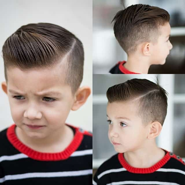 Faded haircut with side part for little boys