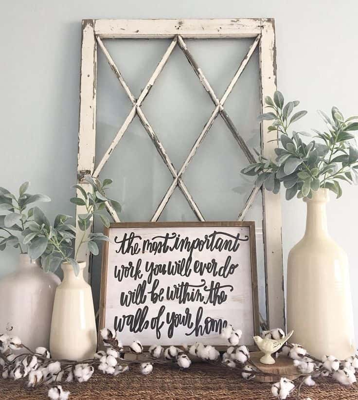 Shabby chic entryway with vintage windows