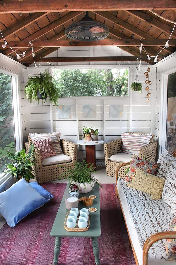 Shed turned boho porch