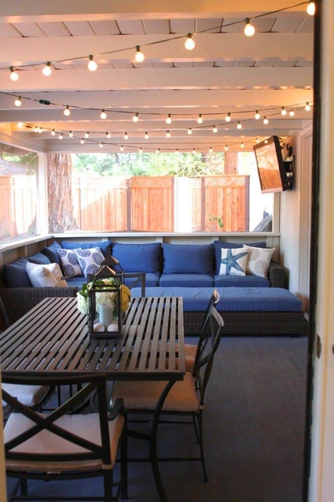 Twinkle lights on screened in patio