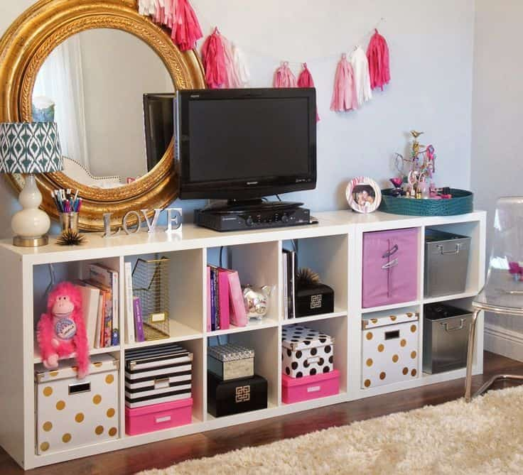 Utilize cubby storage in small bedroom