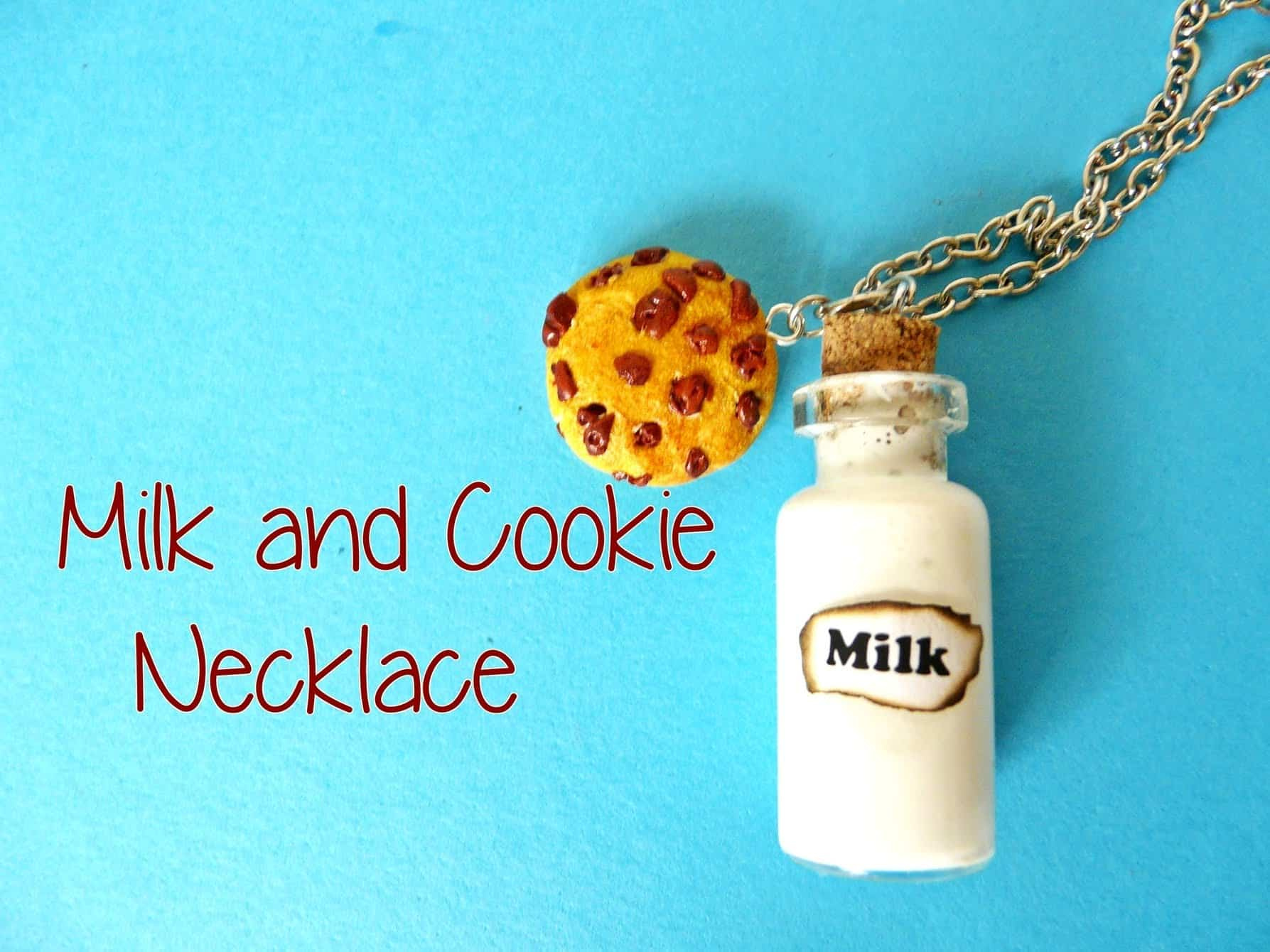 Clay milk and cookie necklace