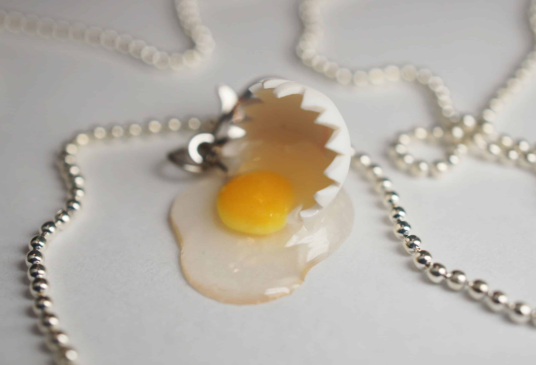 Cracked egg necklace