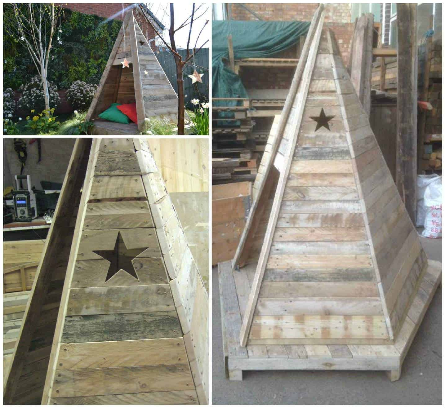 Diy pallet wood kids teepee