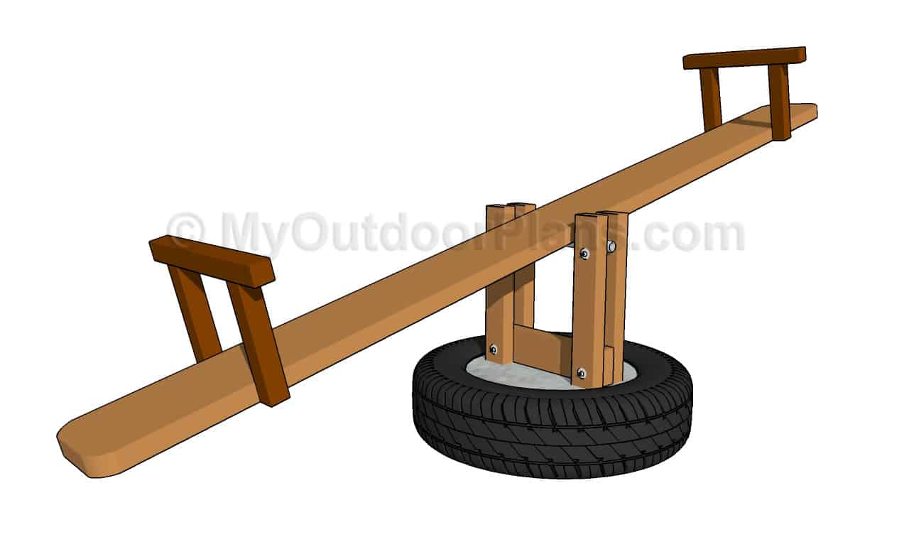Diy wood and tire see saw