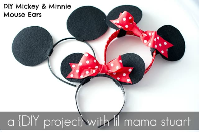 Felt and ribbon mickey and minnie ears