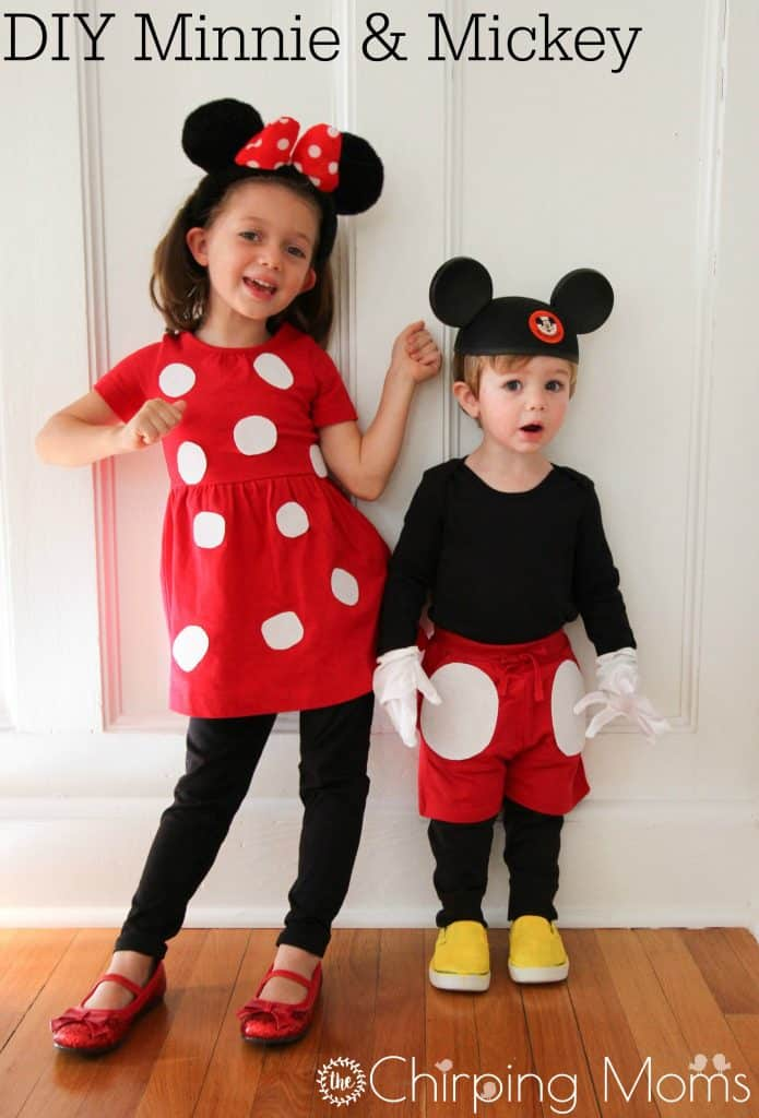 Felt polka dots mickey and minnie costumes