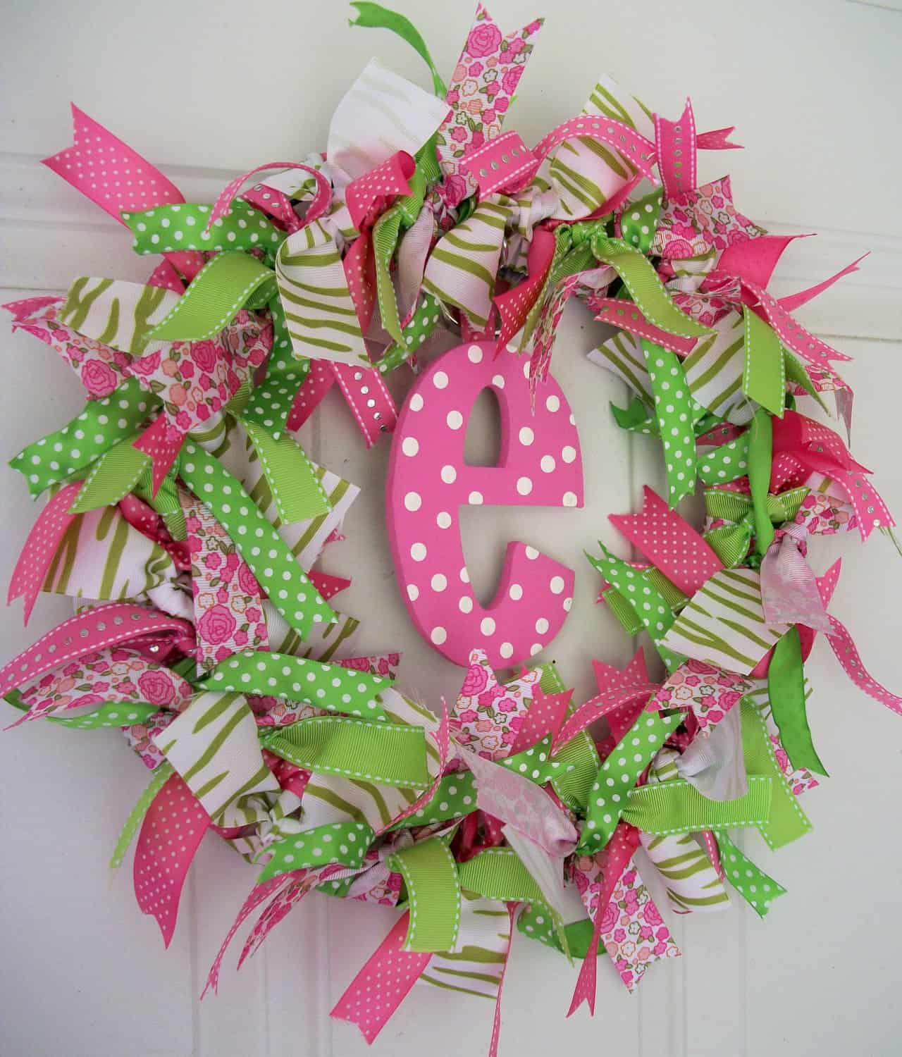 Funky Ribbon Monogram Wreath