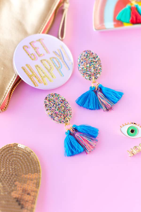 Glitter tassle earrings