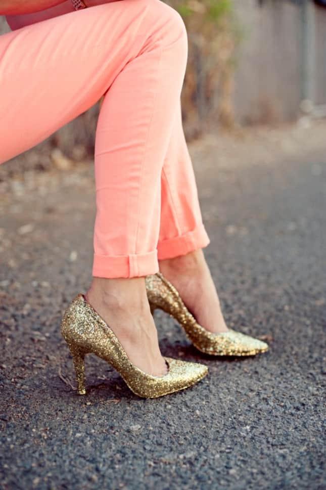 Gold diy glitter heels fashion style diy glitter heels