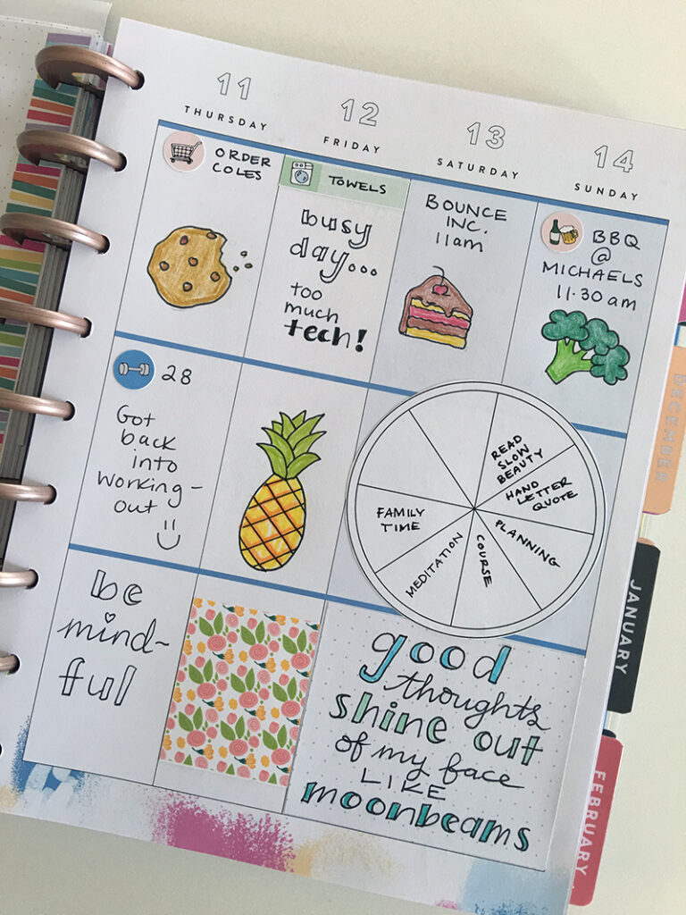 Happy planner page decorated