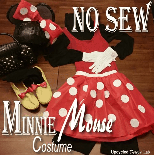 Last minute no sew minnie costume with a tissue paper skirt