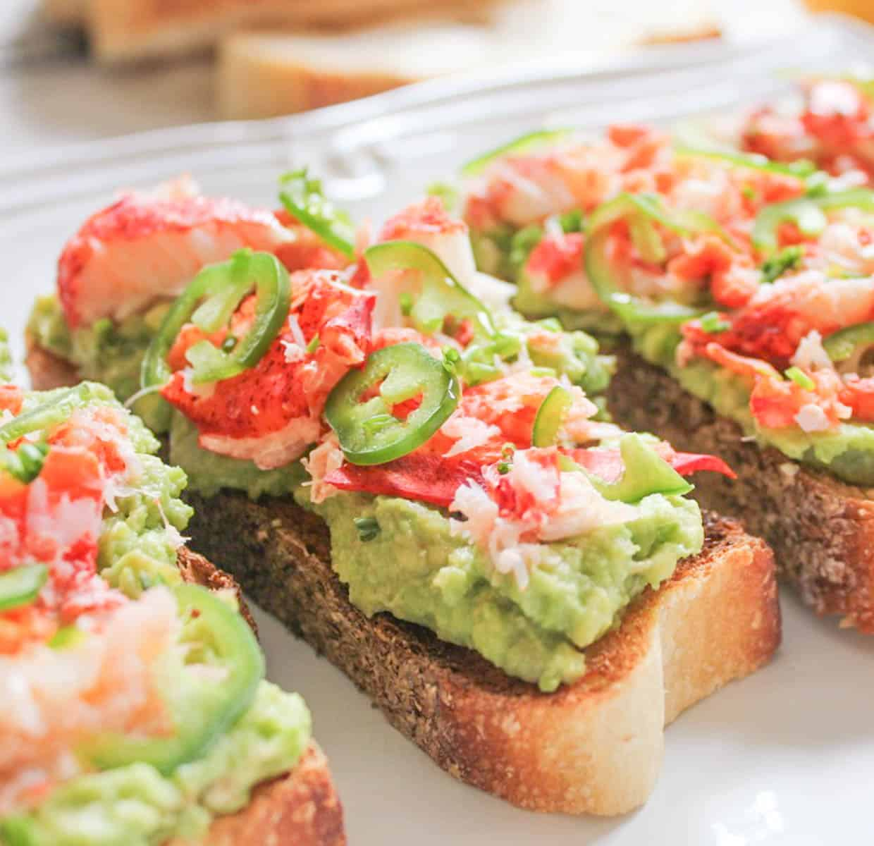 Lobster avocado toast with jalapenos 4