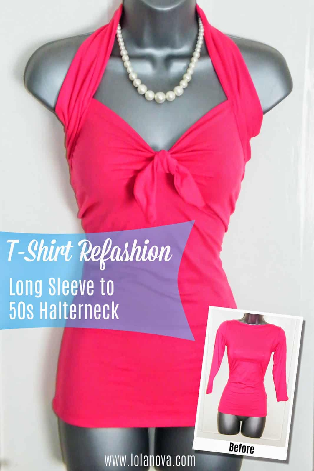 Long sleeve to 50s inspired halter with a bow