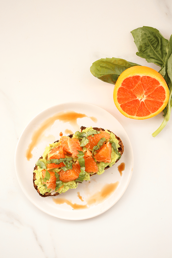 Orange basil balsamic avocado toast