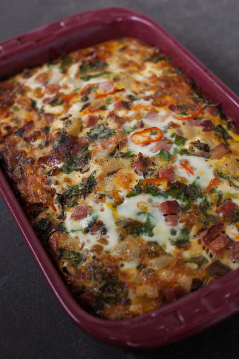 Overnight ham and veggie casserole