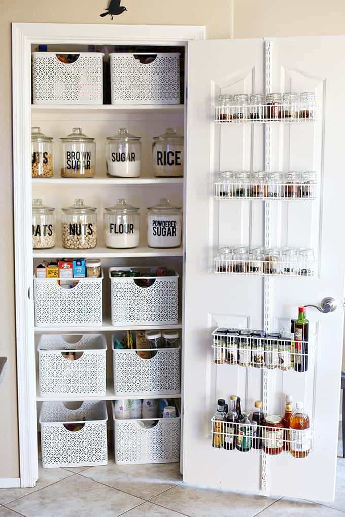 Pantry makeover organization with large labels
