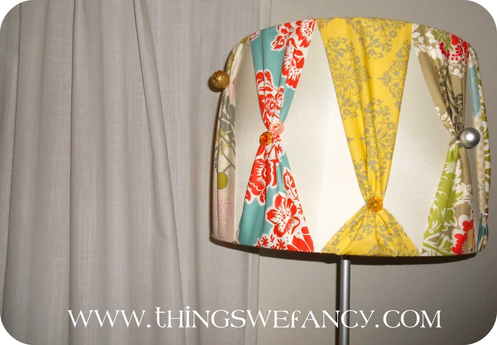 Pinched fabric and button lamp shade