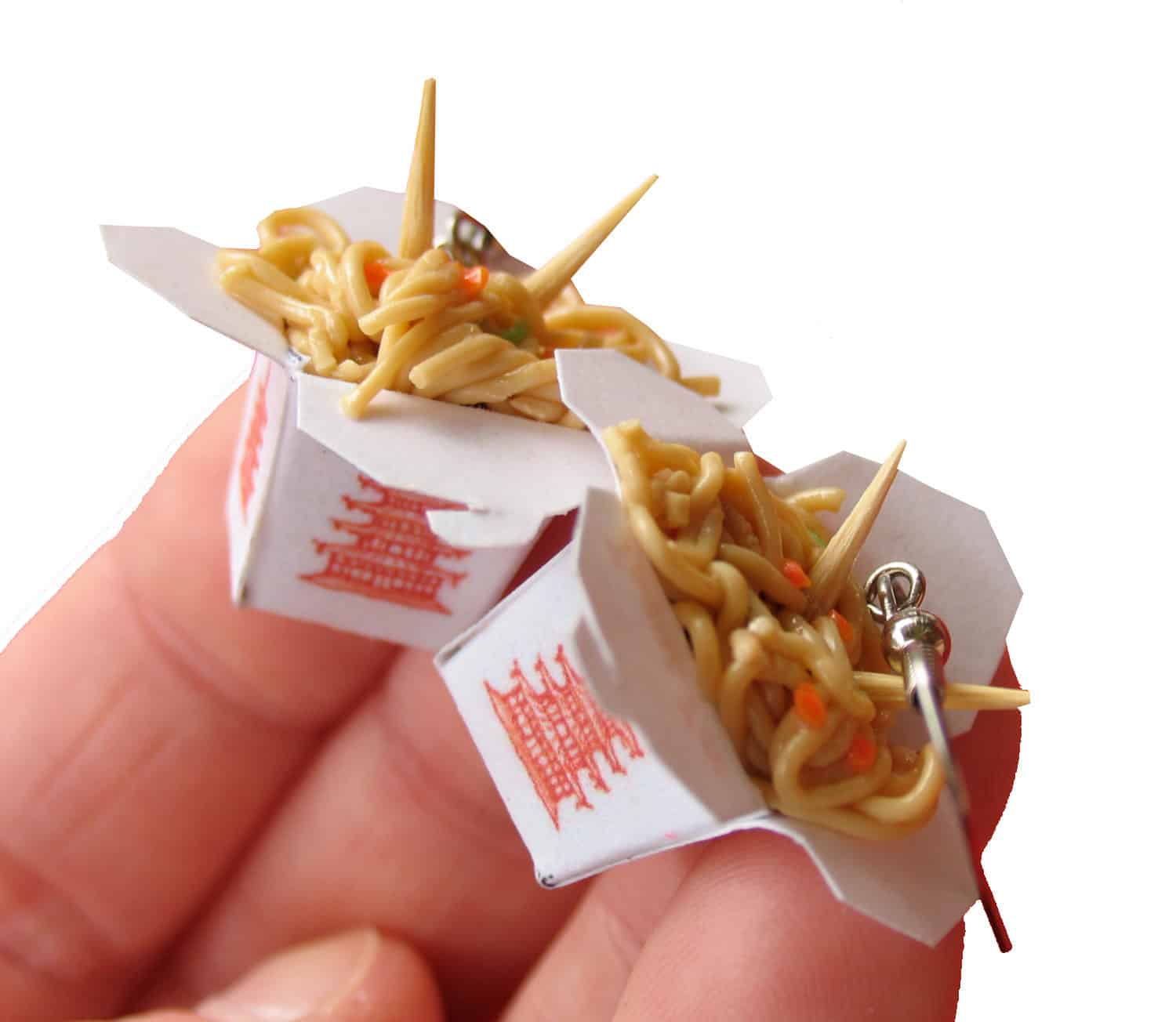 Polymer and paper chinese takeout earrings
