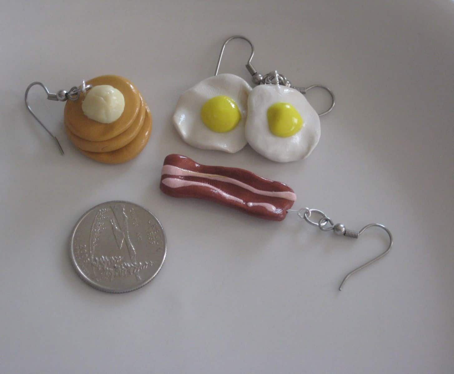Polymer clay breakfast earrings