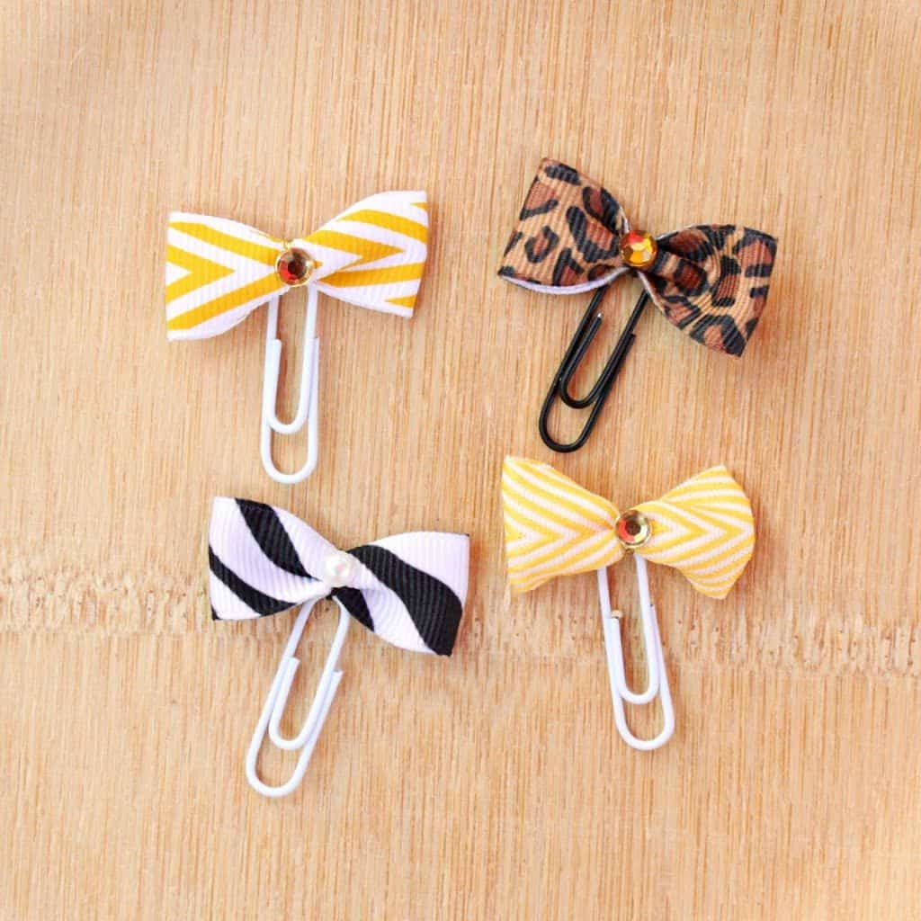 Ribbon and rhinestone paper clip bookmarks
