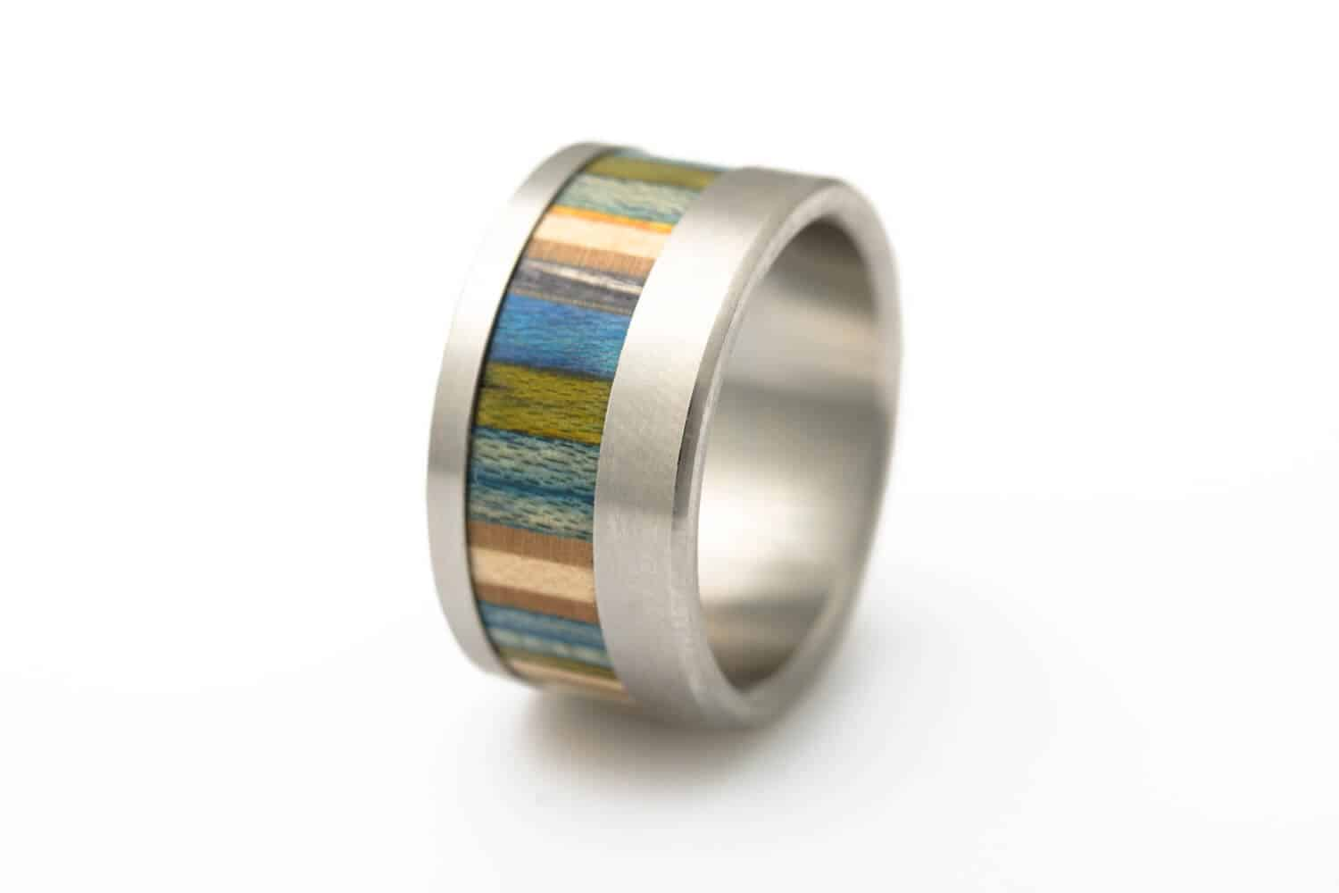 Rings made from sanded skateboard wood