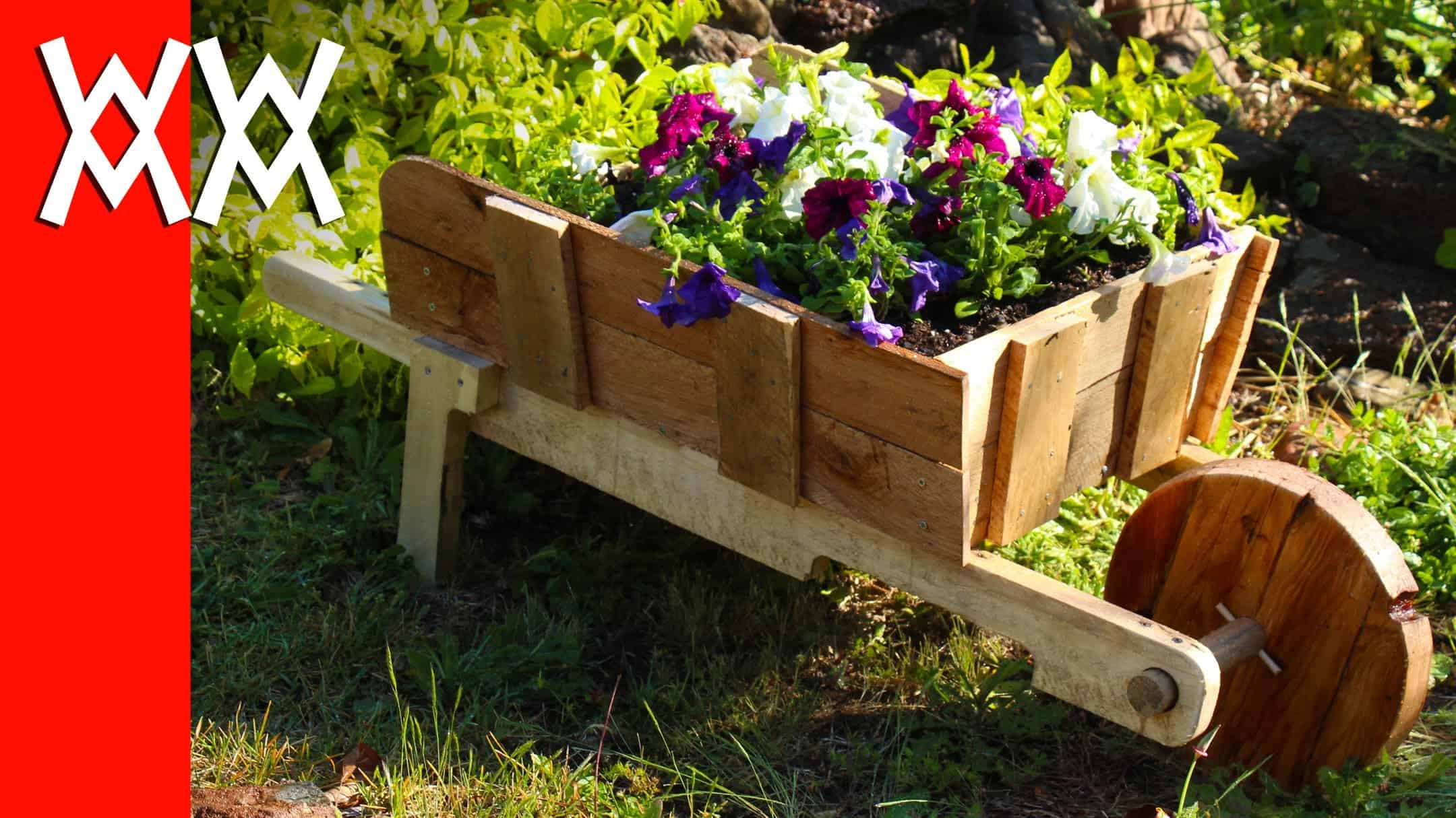 Rustic wheelbarrow planter