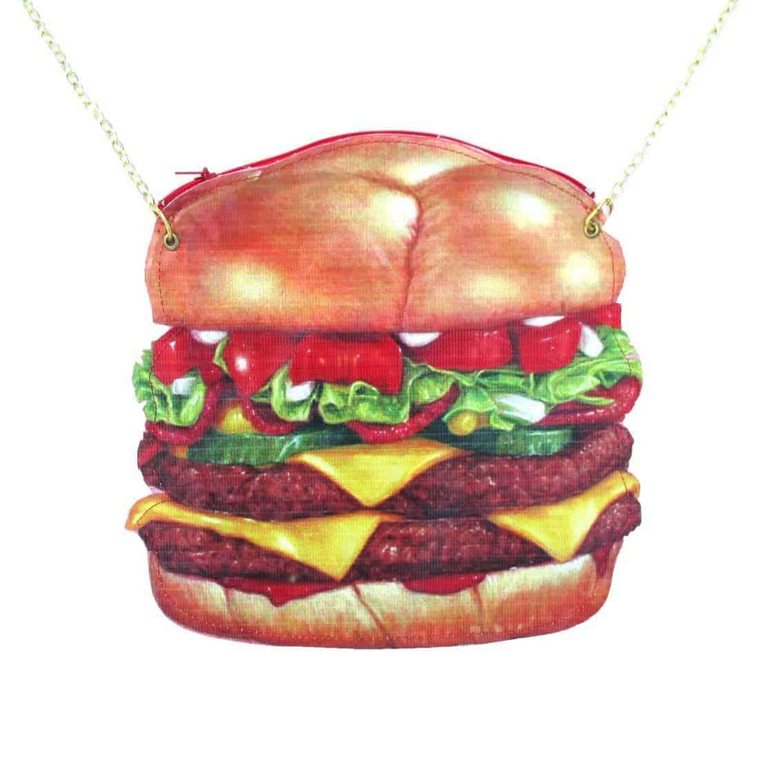 Zipping hamburger shoulder purse