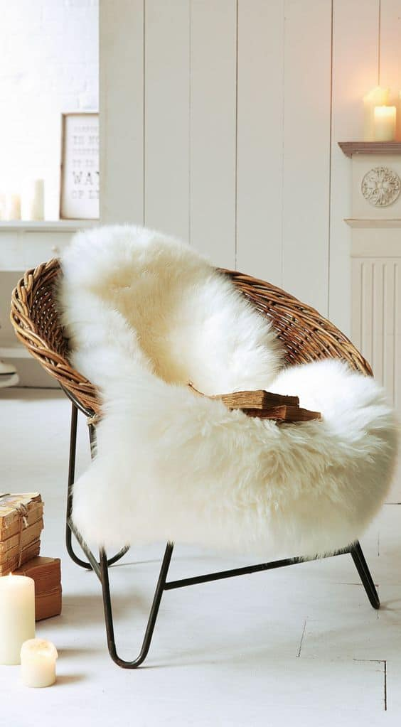 Adding winter with faux fur to the house