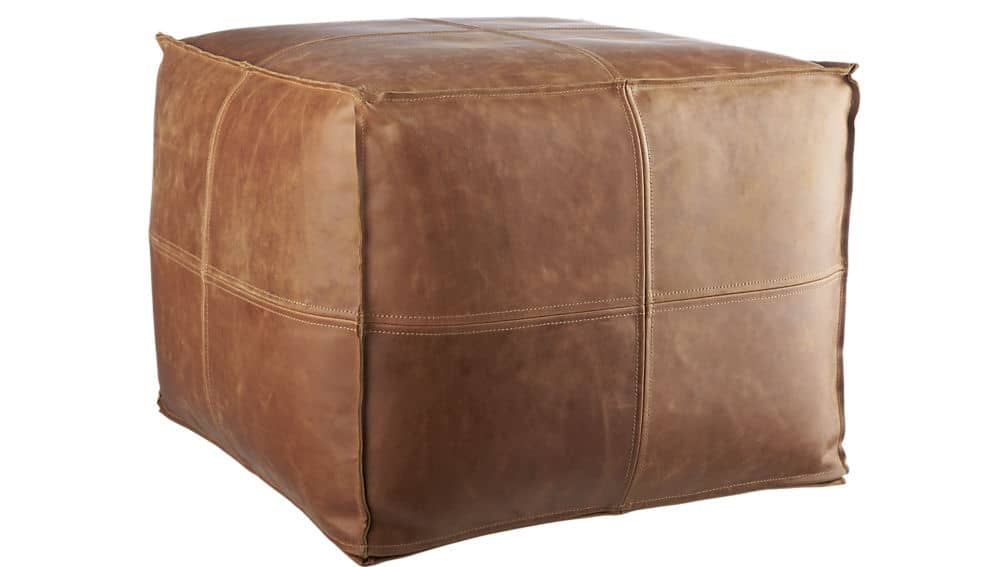 Brown leather pouf from cb2