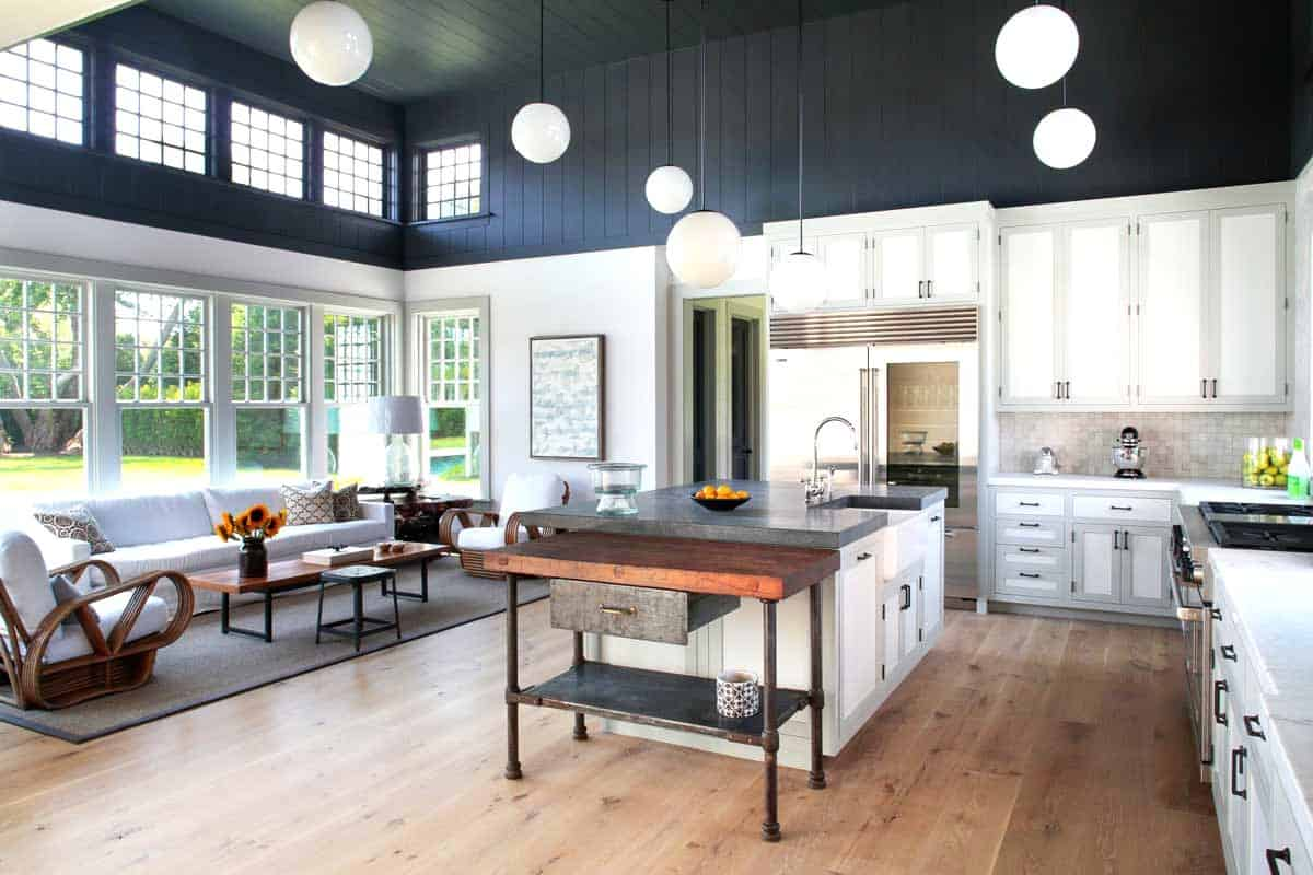 Charcoal wall in farmhouse kitchen