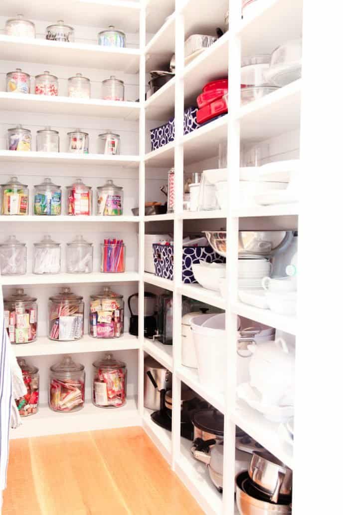 Chic and girlish organized kitchen pantry