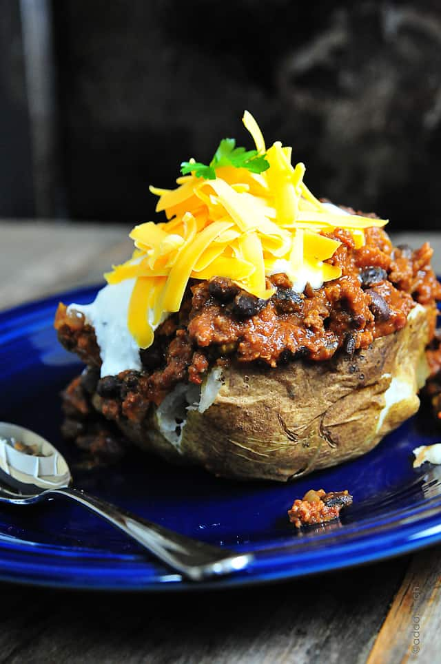 Chili stuffed baked potato