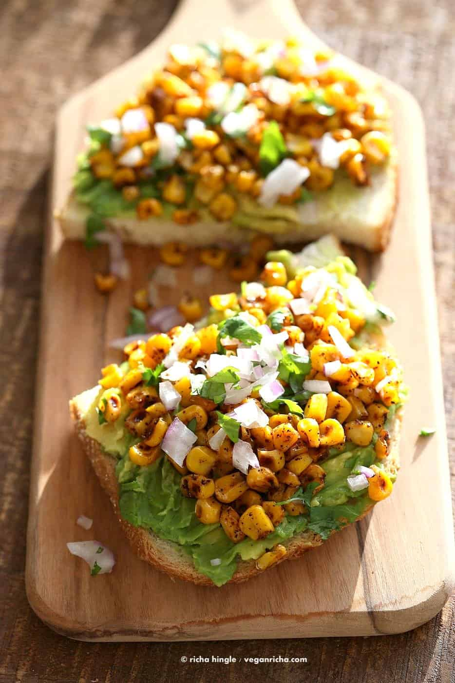 Chipotle roasted corn avocado toast