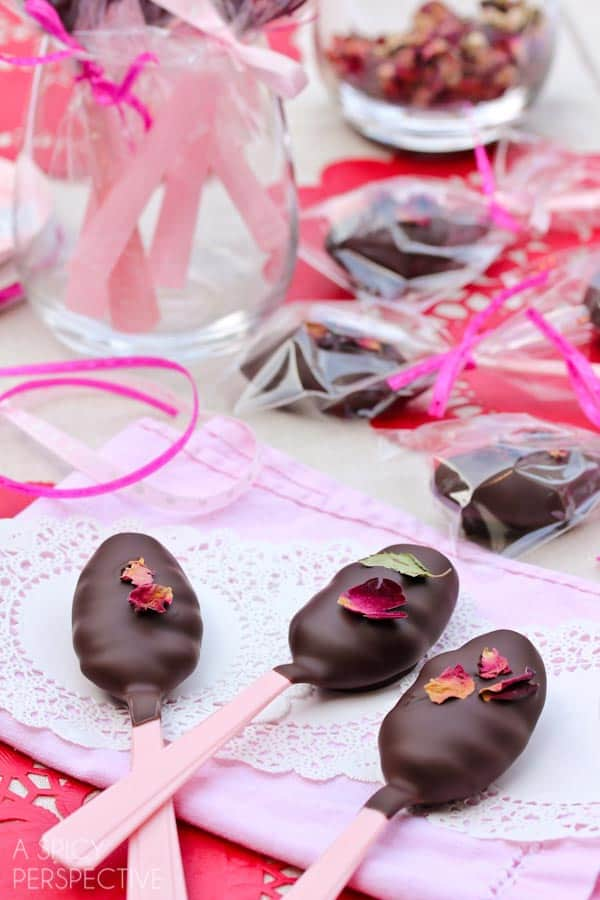 Chocolate and roses truffle spoon