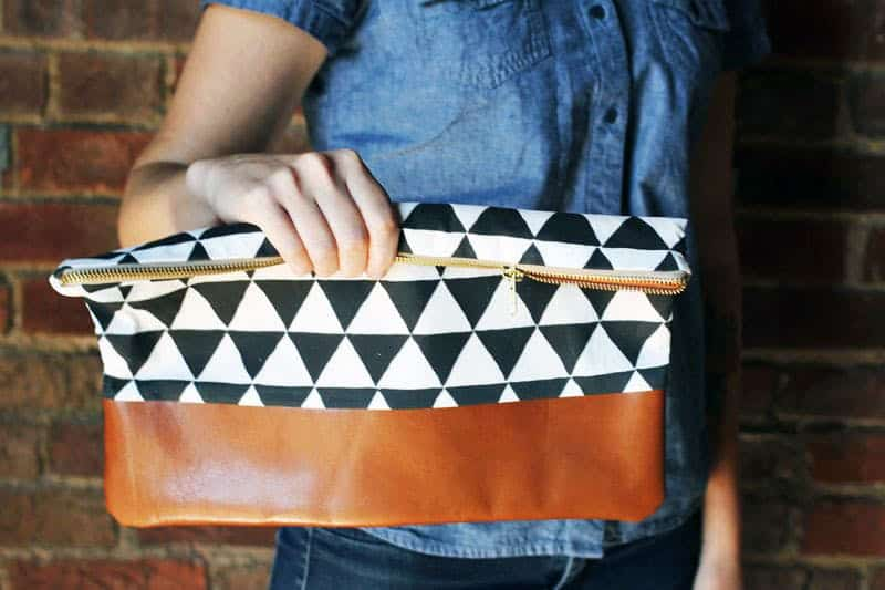 Cotton and leather clutch