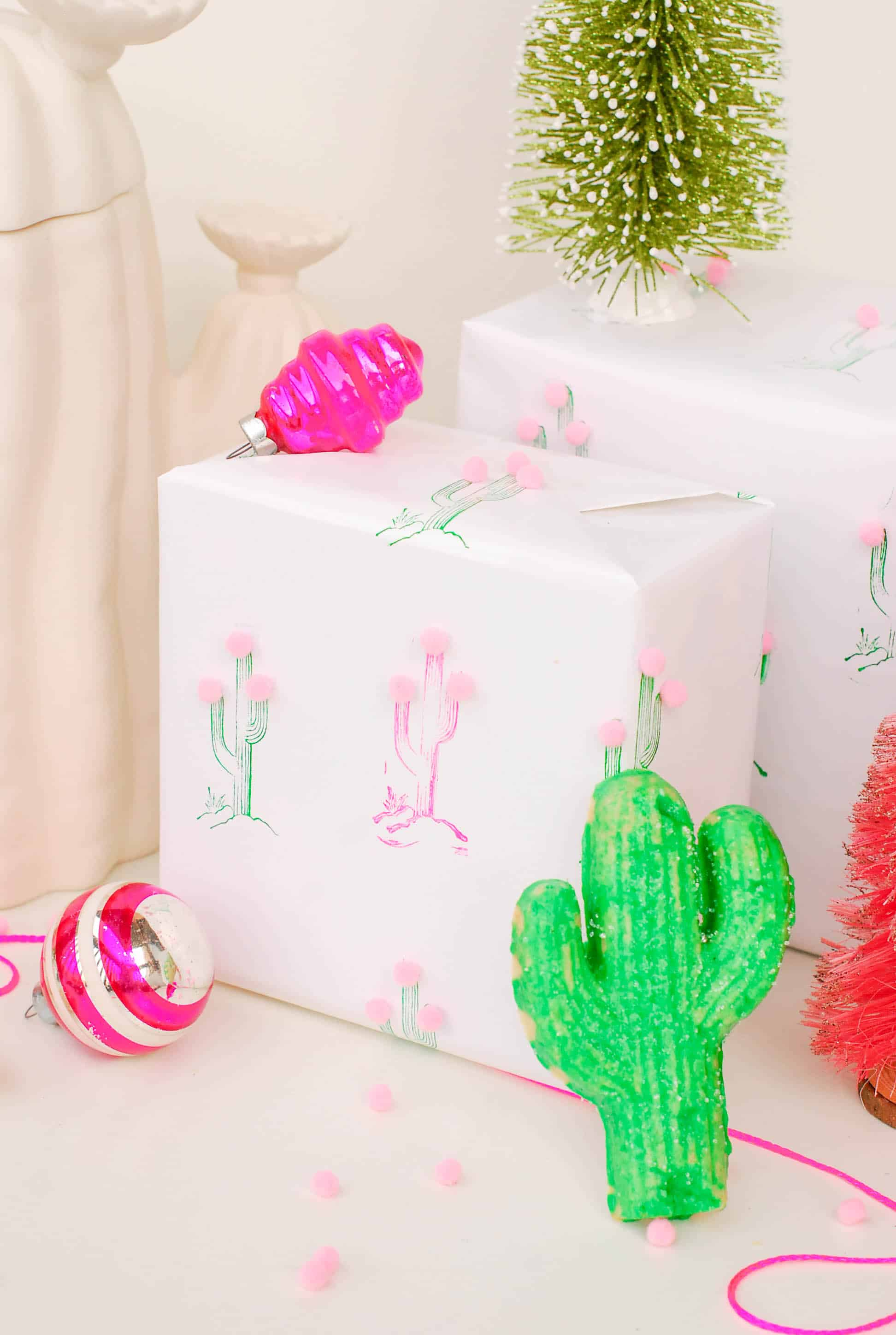 Diy cactus wrapping paper