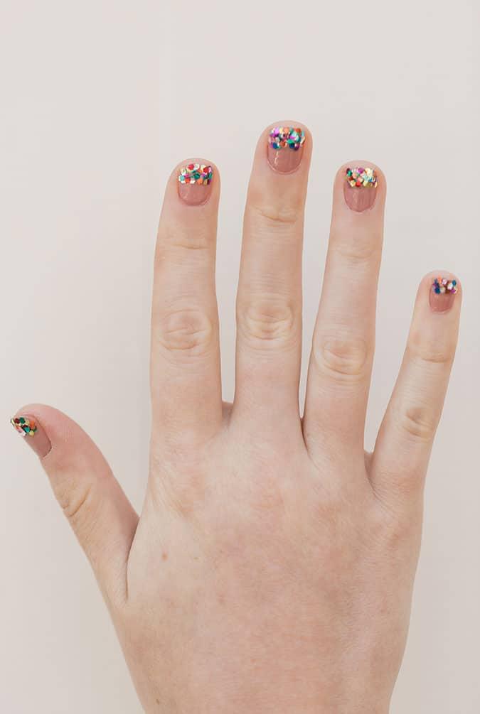 Diy glitter tipped manicure