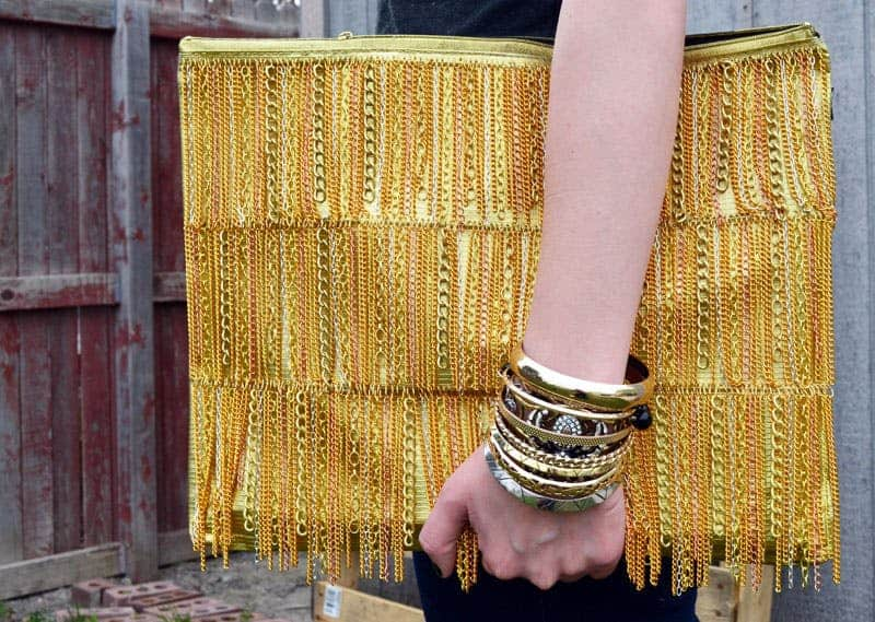 Diy gold chain fringe clutch