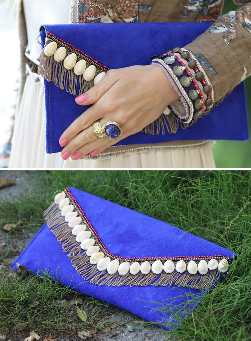 Diy shell embellished clutch