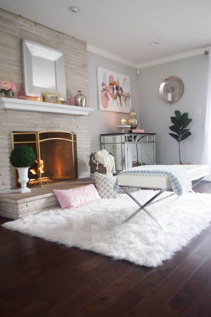 Faux fur area rugs in the home