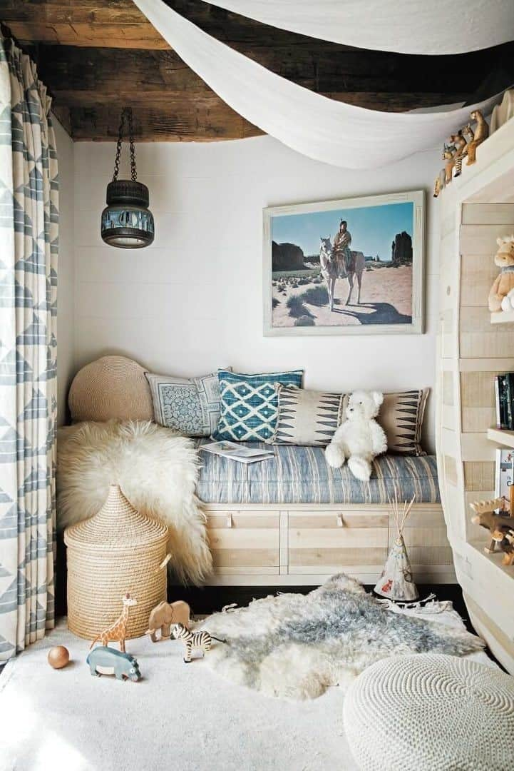 Faux fur reading nook