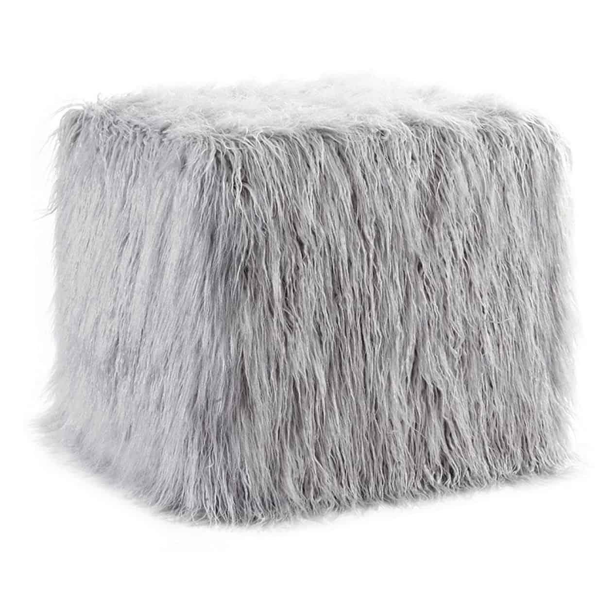 Grey clair fur pouf