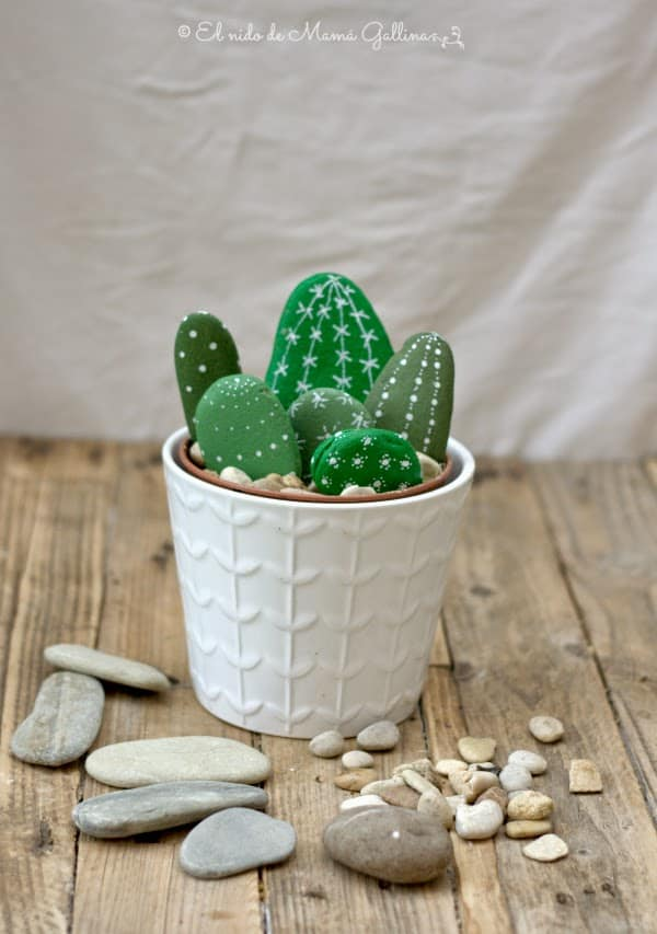 Hand painted cactus rocks