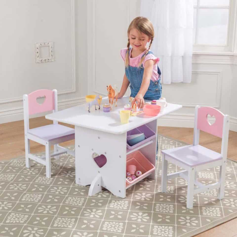 Heart table and chair set with storage