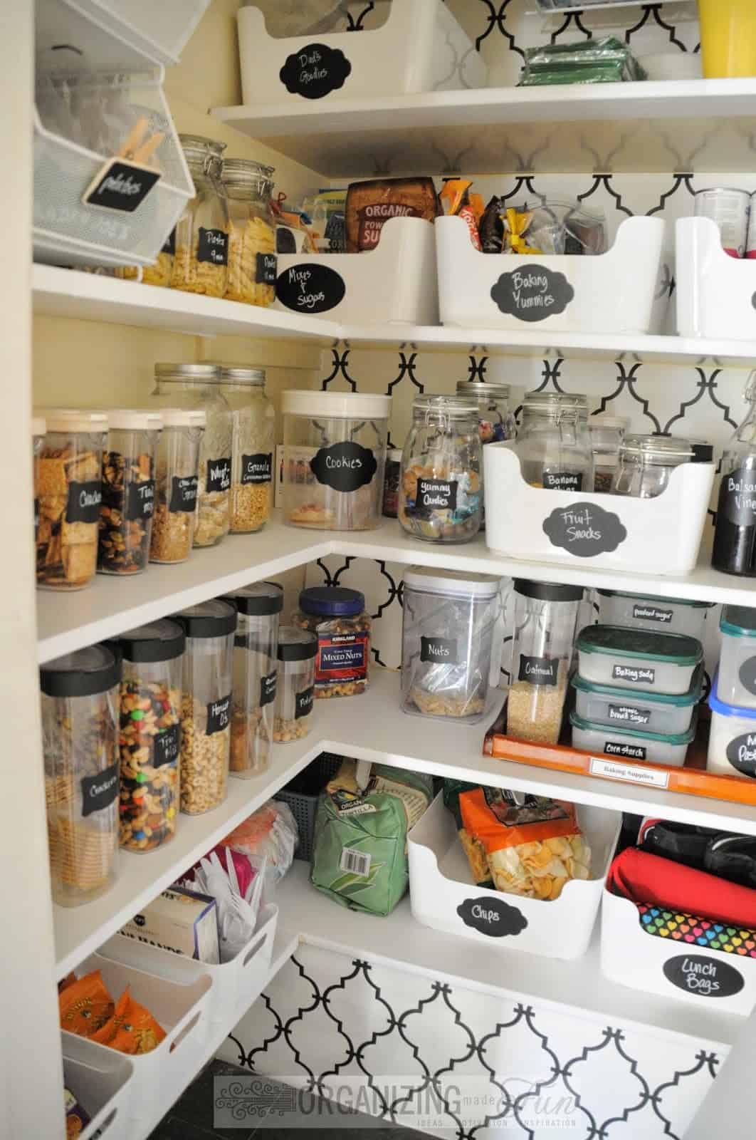 Kitchen pantry with trellis background