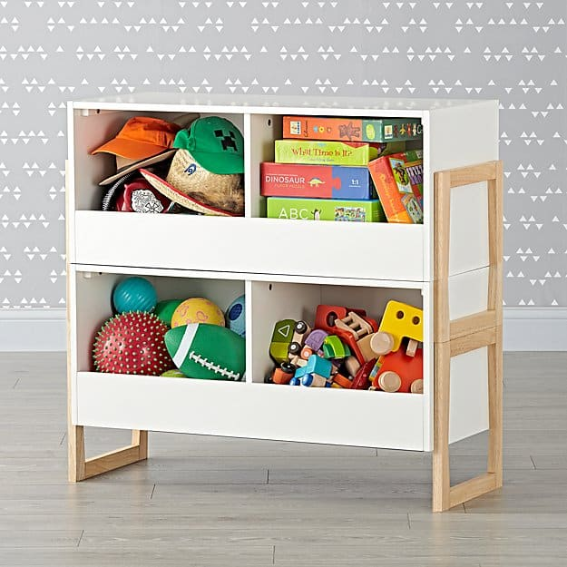 Level up 2 bin stackable white toy box