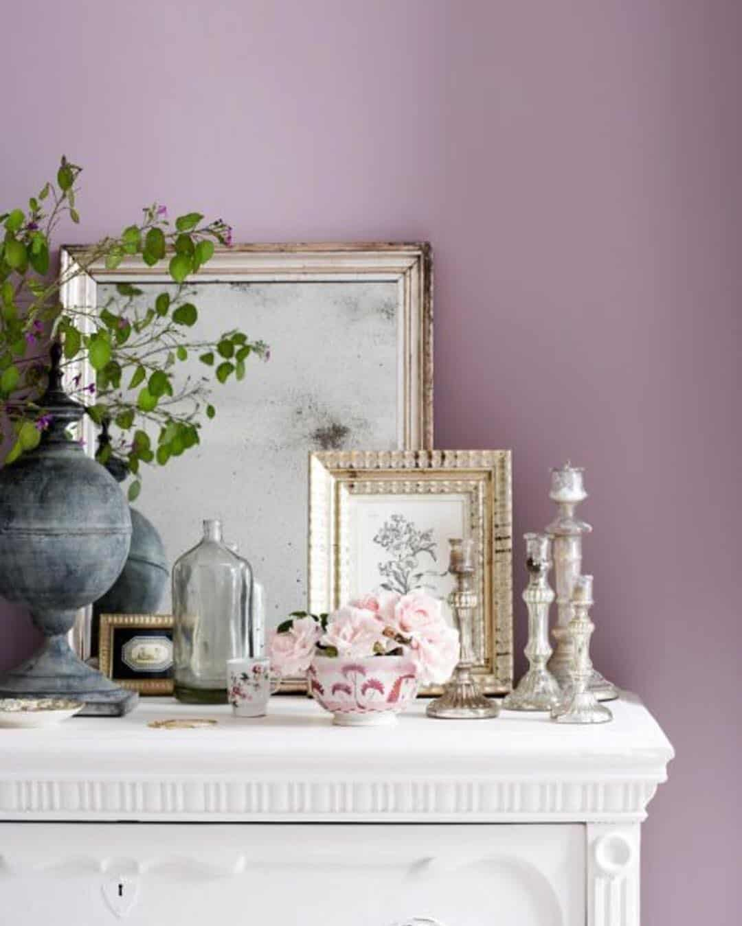 Mauve wall farmhouse style